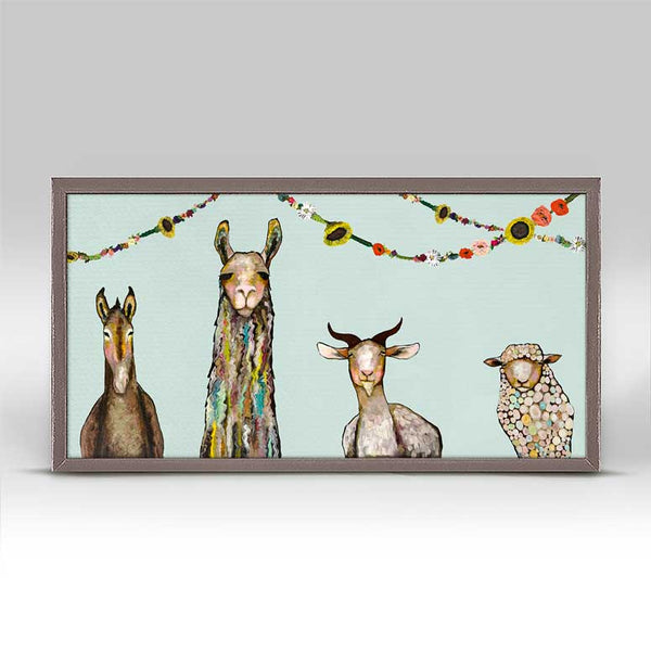 "Donkey Llama Goat Sheep with Garland Mini Print 10"" x 5"""