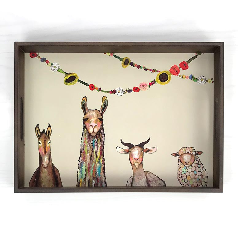 Donkey Llama Goat Sheep Wooden Tray