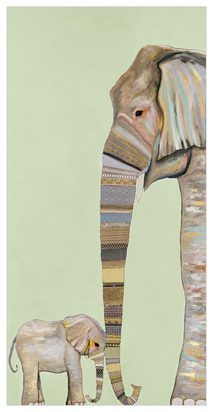 Elephant Baby and Mama Mint - Signed Large Giclée Canvas Print For Austin Tx Delivery Only