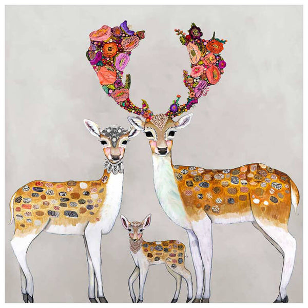 Fallow Deer Family Neutral - Giclée Print