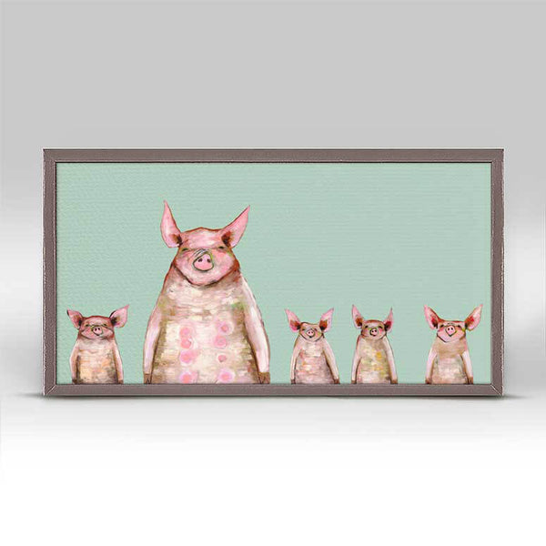 "Five Piggies in a Row - Mint Mini Print 10"" x 5"""