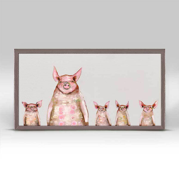 "Five Piggies in a Row - Soft Gray Signed Mini Print 10"" x 5"""