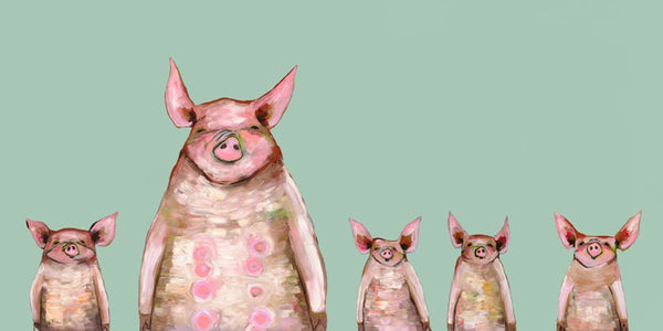 Five Piggies in a Row Mint - Signed Large Giclée Canvas Print For Austin Tx Delivery Only