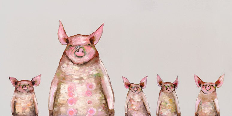 Five Piggies in a Row Soft Gray - Giclée Print