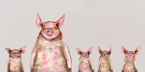 Five Piggies in a Row Soft Gray - Signed Giclée Print