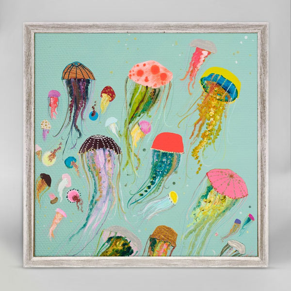 "Floating Jellyfish - Aqua Mini Print 6"" x 6"""