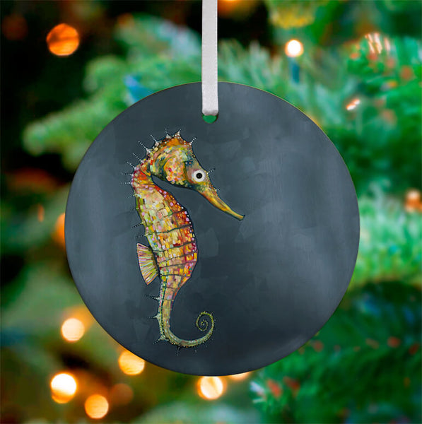 Floating Seahorse Blue Ceramic Ornament