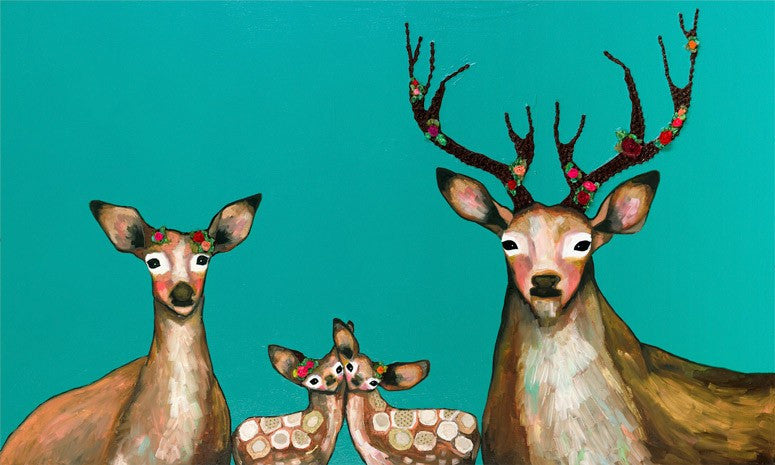 Flower Deer Family on Teal - Giclée Print