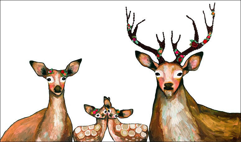 Flower Deer Family on White - Giclée Print