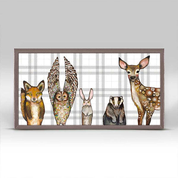 "Forest Animals - Plaid Mini Print 10"" x 5"""