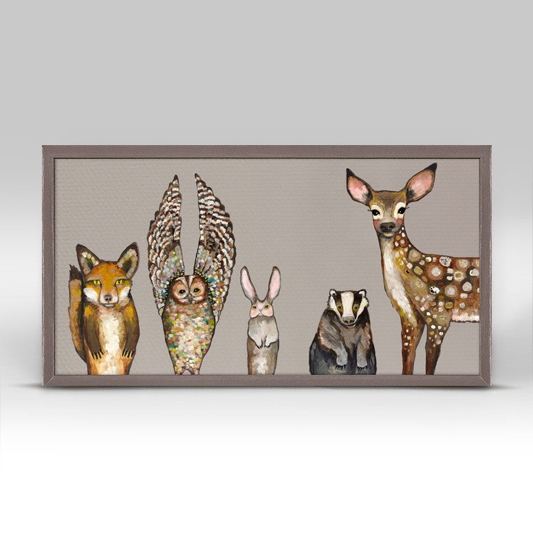 "Forest Animals - Taupe Mini Print 10"" x 5"""