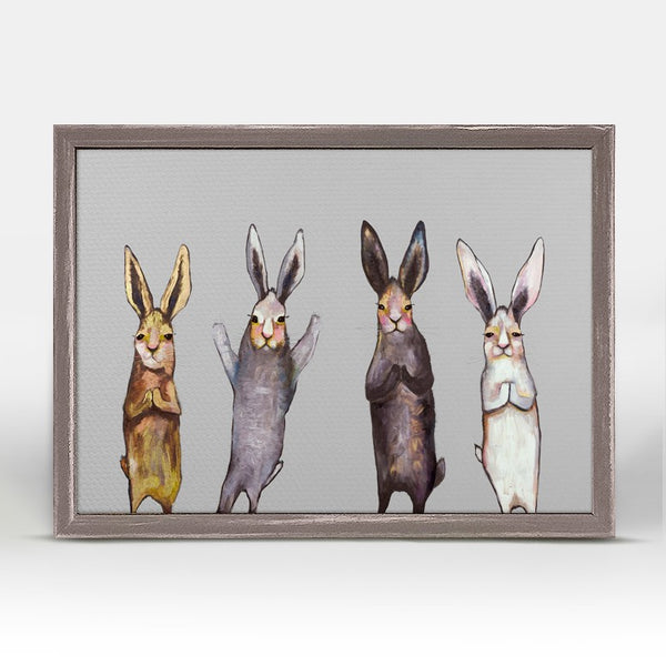 "Four Bunnies on Grey Mini Print 7"" x 5"""