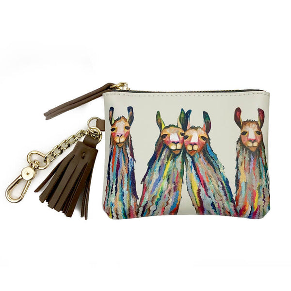 Four Lively Llamas Zippered Key Pouch
