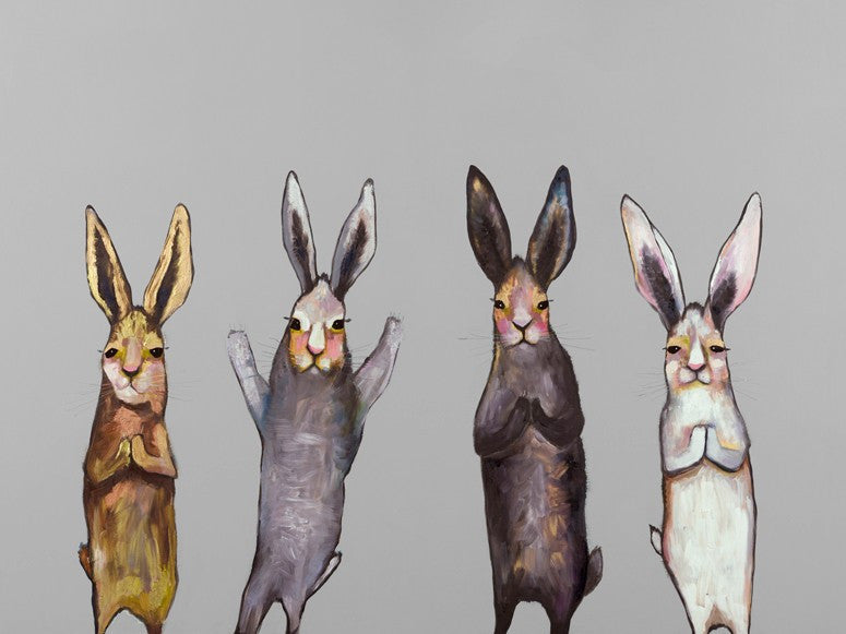 Four Bunnies on Grey - Giclée Print