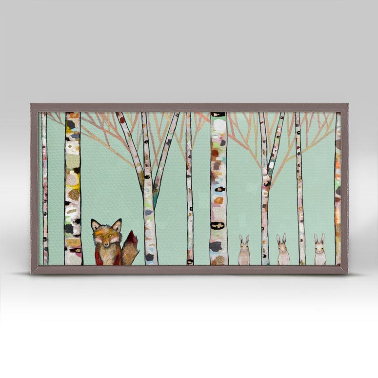 "Fox and Rabbits in Mint Mini Print 10"" x 5"""