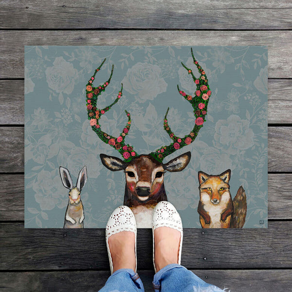 "Fox Buck Hare Floral Floor Mat 30"" x 22.5"""