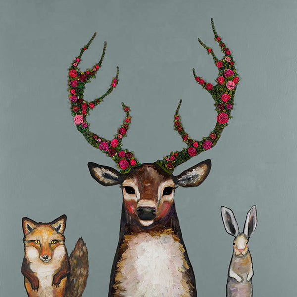 Fox, Buck & Hare Palladian Blue - Signed Large Giclée Canvas Print For Austin Tx Delivery Only