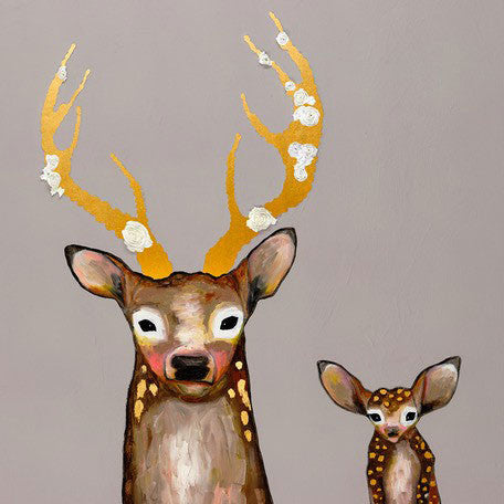 Frosted Buck and Baby Metallic Embellished - Giclée Print