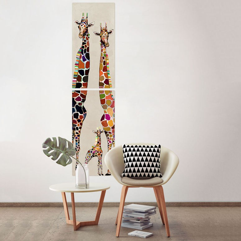 Giraffe Family on Cream Diptych - Giclée Print