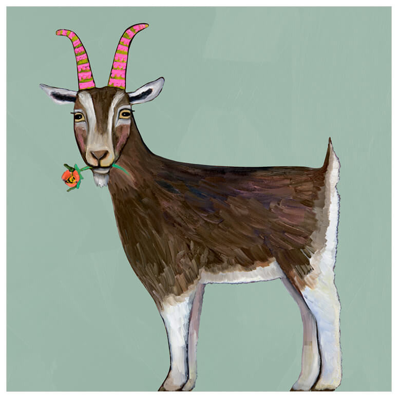 Goat with Flower - Giclée Print