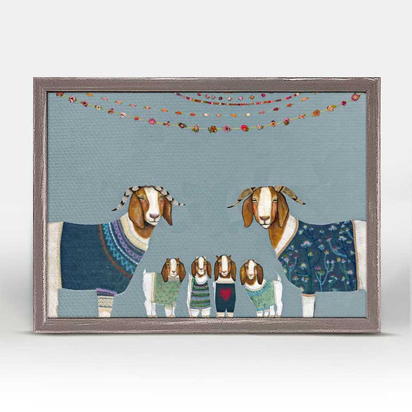 "Goats in Sweaters Blue Mini Print 7"" x 5"""