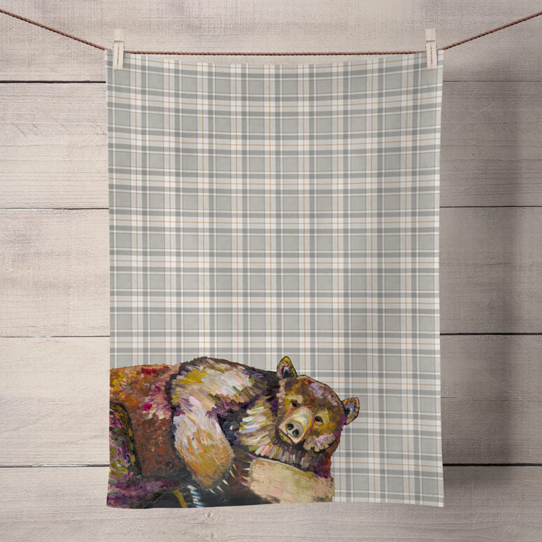 Grizzly Bear Dreams on Tartan Tea Towel