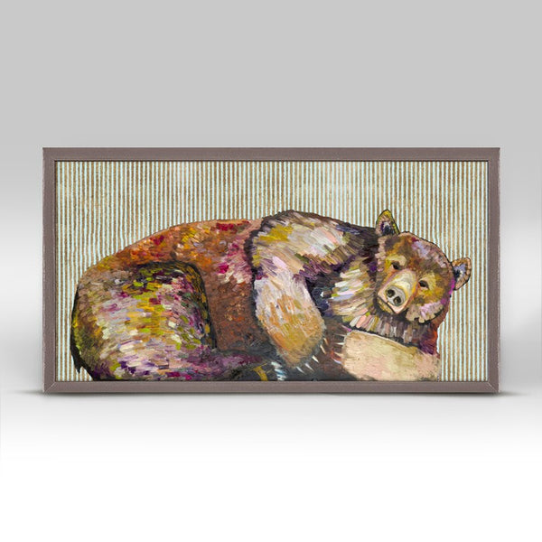 "Grizzly Bear Dreams with Gold Stripes Mini Print 10"" x 5"""
