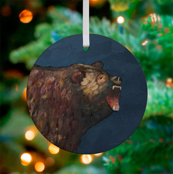 Grizzly Roar Ceramic Ornament