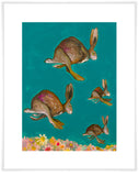 Happy Hopping on Teal - Giclée Print