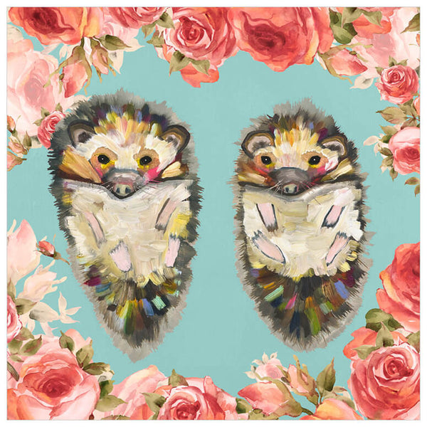 Hedgehog Duo Floral Bright - Giclée Print