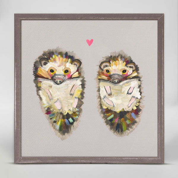 "Hedgehog Love on Soft Gray Mini Print 6"" x 6"""