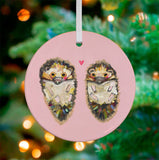 Hedgehog Love Ceramic Ornament
