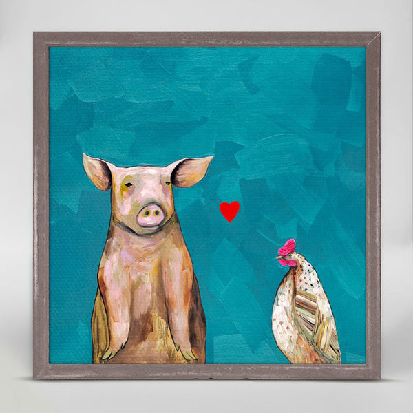 "Hen Loves Pig Mini Print 6"" x 6"""