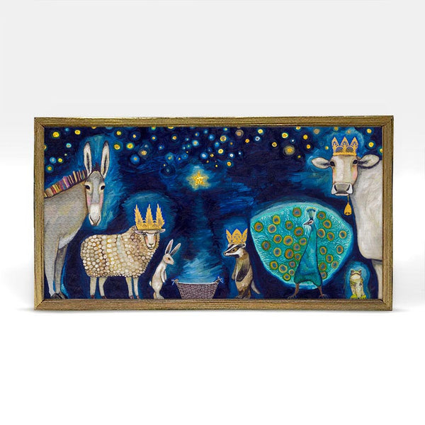 "Animal Nativity Embellished Mini Print 10"" x 5"" - Gold Frame"