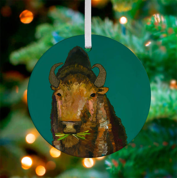 Bison Ceramic Ornament