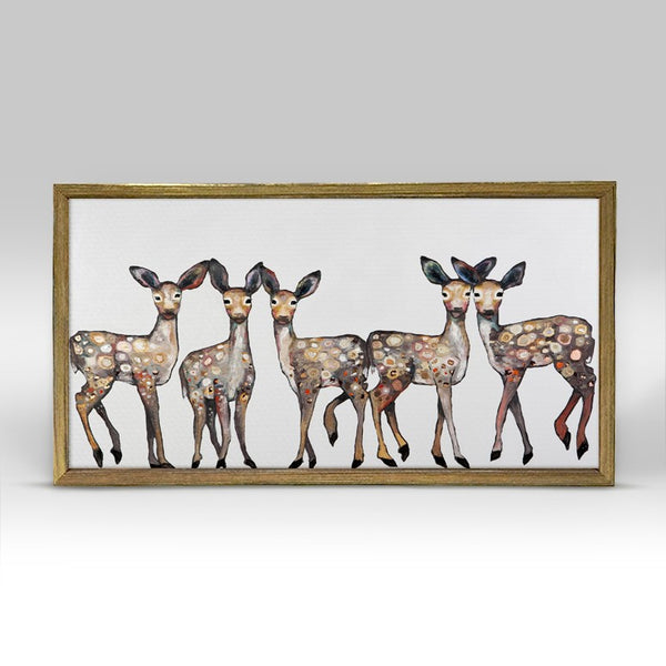 "Dancing Fawns Mini Print 10"" x 5"" - Gold Frame"