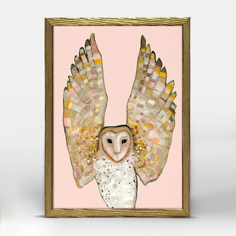 "Barn Owl on Coral Mini Print 6"" x 6"" - Gold Frame"