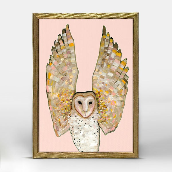 "Barn Owl on Coral Mini Print 5"" x 7"" - Gold Frame"
