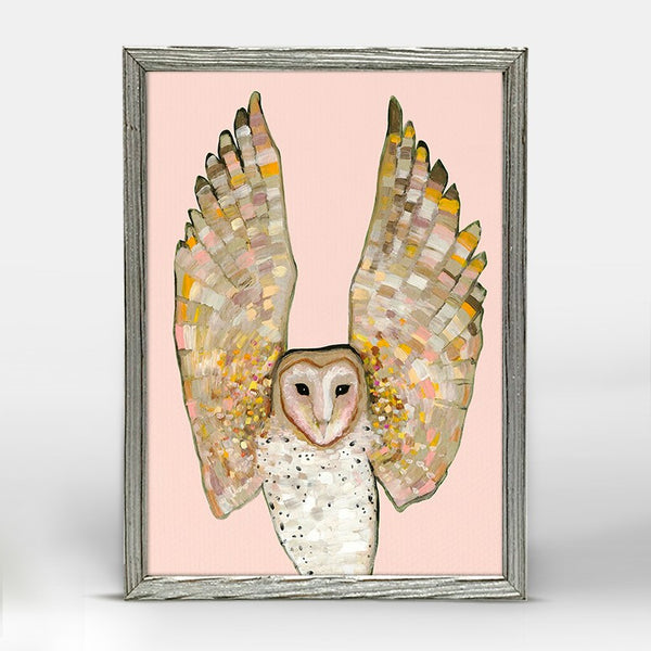 "Barn Owl on Coral Mini Print 5"" x 7"" - Silver Frame"