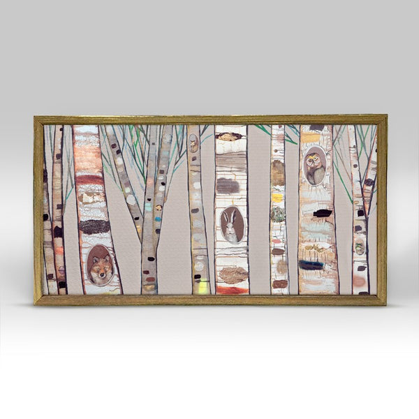 "Birch Trees Natural Mini Print 10"" x 5"" - Gold Frame"