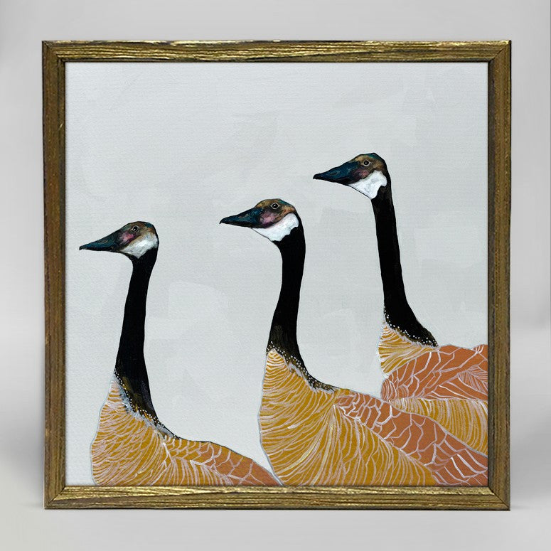 "Canadian Geese on White Mini Print 6"" x 6"" - Gold Frame"
