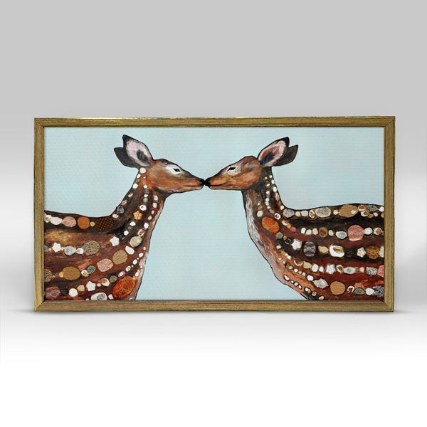 "Deer Love Mini Print 10"" x 5"" - Gold Frame"