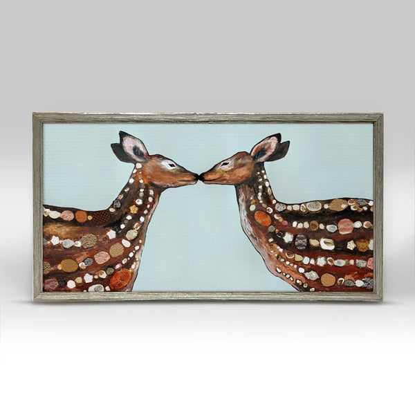 "Deer Love Mini Print 10"" x 5"" - Silver Frame"