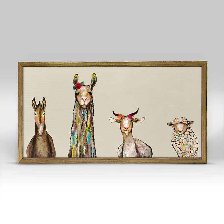 Donkey Llama Goat Sheep - Cream Mini Print10\