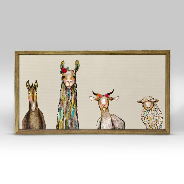 "Donkey Llama Goat Sheep on Cream Mini Print 10"" x 5"" - Gold Frame"