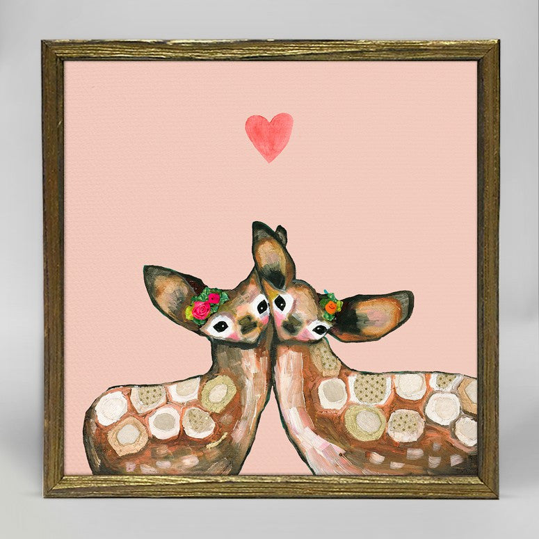 "Fawn Love Mini Print 6"" x 6"" - Gold Frame"