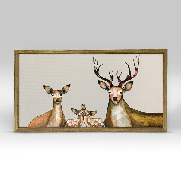 "Flower Deer Family on Cream Mini Print 10"" x 5"" - Gold Frame"