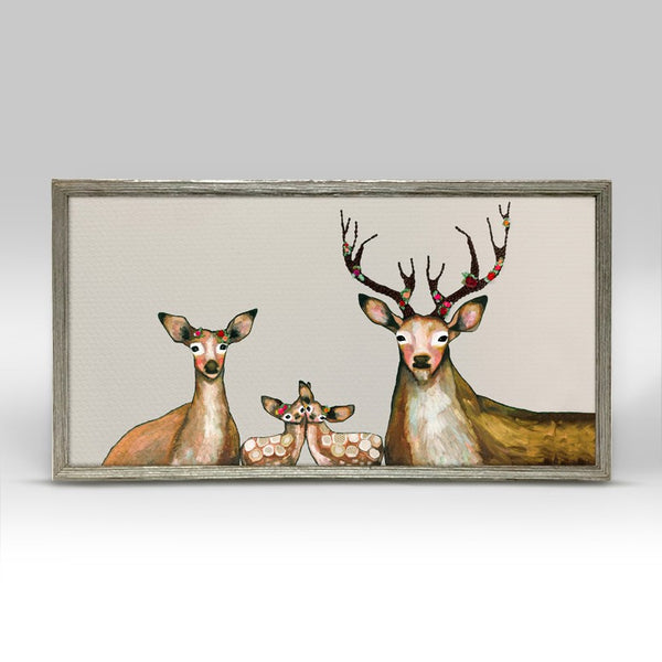 "Flower Deer Family on Cream Mini Print 10"" x 5"" - Silver Frame"