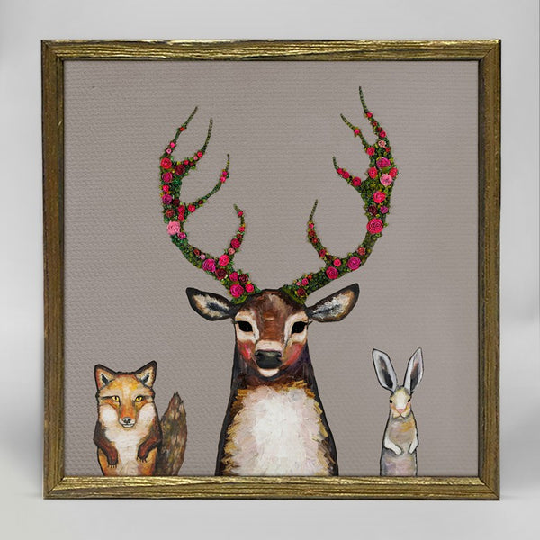 "Fox Buck Hare Mini Print 6"" x 6"" - Gold Frame"