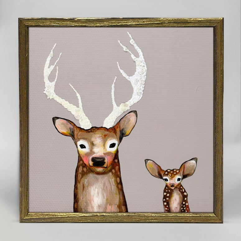 "Frosted Buck and Baby Mini Print 6"" x 6"" - Gold Frame"